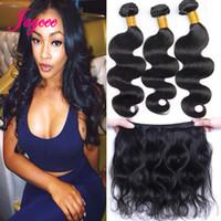 Wholesale Buy Body Wave Hair Closure - Brazilian Hair Weave Buy 3pcs Hair Get One Free Lace Closure Unprocessed Malaysian Indian Peruvian Mongolian Human Hair Extension