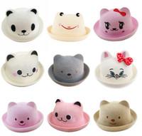 Wholesale Korean Summer Kids Hats - DHL free 30 Colors Kids Caps 2017 new Korean version children Orecchiette straw hat Bear straw hat visor cap tide cat ears 30colors