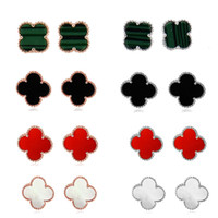 Wholesale Golden Clover - S925 four leaf clover stud earrings silver golden colors agate charm earrings jewelry wholesale