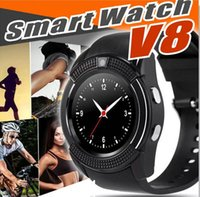 Smart Watch V8 quadrante rotondo Smartwatch telefoni Bluetooth SIM di supporto con gli orologi da polso sportivi per Android Android iOS Wearable orologio SB-V8