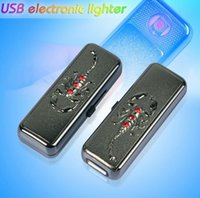 Wholesale Diamond Usb Flash - scorpion usb flash Red diamond Metal electronic cigarette Rechargeable charge lighters also offer torch butane gas arc lighter 2 colors sale