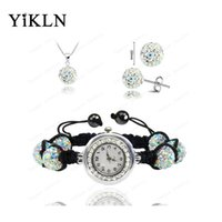 Wholesale Crystal Ball Bracelet Watch - Wholesale Fashion Watch Crystal Shamballa Set Crystal Necklace+Bracelet+Crystal Earring Jewelry Set 10MM Disco Ball Watch SHSE11