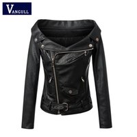 Wholesale leather jacket women slim rivet - Wholesale- Woman Off shoulder faux leather jacket women motorcycle jacket 2016 Spring autumn outerwear coats Short zipper basic jackets