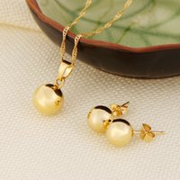 Ball Pendentif Collier Bague Boucles d'oreilles Bijoux SET Fine 24K Real Yellow Solid Gold GF Femmes Bijoux Fantaisie Best Gifts joias ouro mujer