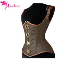 Wholesale Brown Leather Underbust - Dear-lover underbust bustiers Grand Steampunk Leather Clasp Corset Top with G-string LC5323 steampunk corselet sexy lingerie set 17410
