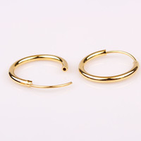 Wholesale Solid Yellow Filled Hoop - diameter 2.0cm hoop earrings 18k yellow gold filled solid smooth earrings for women free shipping