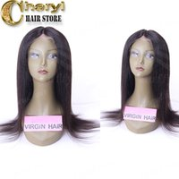 Wholesale Glueless Remy Yaki Wigs - Indian braided lace front wig yaki straight glueless full lace wigs for black women virgin remy human hair wigs middle parting in stock