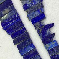 "Wholesale Lapis Lazuli Stone Necklace - Natural Genuine Blue Lapis Lazuli Slabs Slices Flat Stick Beads Drill Side Fit Jewelry Necklace Bracelets 15"" 04315"