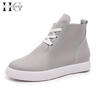 Wholesale High Platform Creepers Shoes - Wholesale-Lace-Up Women Ankle Boots 2016 Solid Creepers Casual Platform Shoes Woman Slip On Flats Spring Autumn Women Shoes XWX4276