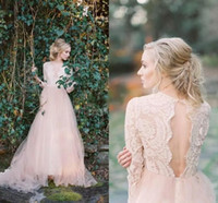 Wholesale petite silver wedding dresses resale online - Blush Pink Lace Bohemian Wedding Dresses Sheer Long Sleeves Deep V Neck Sexy Open Back Tulle Bridal Gowns Cheap Beach Wedding Gowns