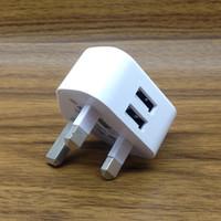 pino adaptador de corrente alternada venda por atacado-5 V 2.1A Dual 2 Portas USB Carregador De Parede 3 pinos REINO UNIDO Plugue AC Power Adapter Casa Carregador Universal para Smartphone