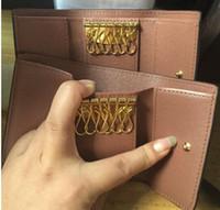 Wholesale Men Business Case - Vintage Leather Key Wallet Women Keychain Covers Key Case Bag Men Key Holder Housekeeper Keys Organizer