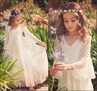 Wholesale Little Girls Fancy Dresses - 2018 New Fancy A-line Lace Flower Girl Dresses Cheap Country Style Little Girls Gowns V Neck 3 4 Sleeves For 2-12 Years MC0668