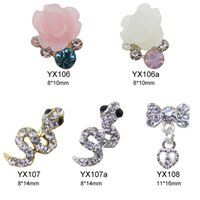 Wholesale Nail Art Jewelry Bows - Wholesale- 10pcs Heart drop bows nail decoration 3d cute snake flower jewelry DIY art tools accessories YX106