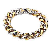 Wholesale 14k Gold Thick Chain Bracelet - NYUK New Fashion Stainless Steel Charm Bracelet Men Vintage Embossed 15mm Wide Thick Cool Hip Hop Bangles Jewelry Gold Silver