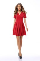 Wholesale Sexy Dress Expansion - Sexy Women' fashion Summer Short Sleeve Casual Tops Expansion skirt V-Neck Pleated petals wavy edge Red dress