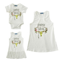 Wholesale Shirt Mother Daughter - mother daughter dress clothes letter romper tassel dress t shirt family look 2017 summer cartoon deer matching mom baby outfits