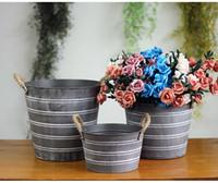 Wholesale Iron House Decorations - new Succulents pots vintage flower Storage Holders Creative House Decor Iron flower pots basket Home decor Wall Decoration 6 size wholesale