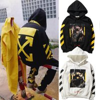 Wholesale Pyrex Religion White - EXO Style OFF WHITE Men And Women Hooded Sweater Stripe Hoodies Sweatshirts Pyrex Vision Religion Painting VIRGIL ABLOH Jogging Pullover