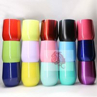 Wholesale Double Layer Glass Beer - Egg Cup Stemless Cups 9oz 19 Colors Double Layer Mugs Powder Coated Stainless Steel Beer Wine Glasses Vacuum Insulated Cups 50pcs