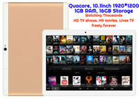 Wholesale Tablet Gps Android 3g Tv - 10pcs Android Tablet TV watching Thousands of HD Movies and HD TV shows MTK Quadcore 1GB 16GB 10.1inch HD 3G WIFI GPS