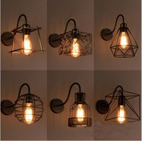 Wholesale birdcage style lighting - loft iron birdcage wall lamp vanity lights led wall sconces country style badroom Corridor industrial lights fixture