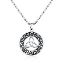 Wholesale Trinity Pendants - Mens Necklaces Stainless Steel Vintage Irish Celtics Trinity Love Knot Round Triquetra knot Pendant Necklace Jewelry PN-708