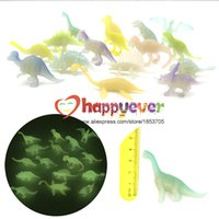Grossiste-32Pcs 2inch Mini Jurassic Noctilucent Dinosaur Jouets Enfants Dinosaur Party Favor Décoration Pinata Filler Boys Birthday Goody Bag