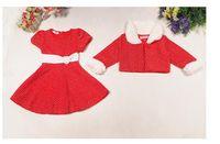 красные шубы для девочек оптовых-Дети подарок девочка Рождество платье одежда костюм Новый год красное платье пальто для девочек меховой воротник куртки платье костюм