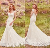 Wholesale Newest Sweetheart Mermaid Cap Sleeve - 2017 Newest Country Style Mermaid Wedding Dresses with Capped Sleeves Appliqued Lace Court Train Bridal Gowns Lace-up Back