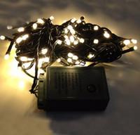 ingrosso luci di stringa bianca blu-10m 100 LED String Light Fairy Christmas Holiday Xmas Decorazione esterna Illuminazione Filo verde scuro Bianco / Blu / Colorato / Bianco caldo AC110V-250V