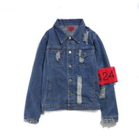 2017Calçados estilo superior de alta qualidade Jaquetas 424 FourTwoFour Men Hip Hop Coat Destruir Lavado Distressed Denim Jacket Chaqueta