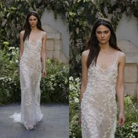 Wholesale Mermaid Wedding Dress Monique - Monique lhuillier 2017 Mermaid Beach Wedding Dresses Sexy Spaghetti Neckline Lace Appliqued Illusion Bodice Sweep Train Bridal Gowns