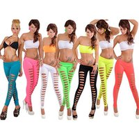 Wholesale Leggings Women Broken - Wholesale- Fluorescent candy colored before bottoming holes evenly broken 2017 sexy Front Big Getting Ripped women Leggings C918