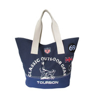 Wholesale Heavy Duty Polyester - Tourbon Navy Blue Heavy Duty Canvas Tote Bag Fashion Shopping Bag Printing pattern Canvas Shoulder Bag pack