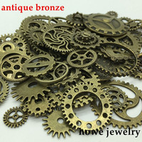 Wholesale diy steampunk - Mixed 100g steampunk gears and cogs clock hands Charm Antique bronze Fit Bracelets Necklace DIY Metal Jewelry Making