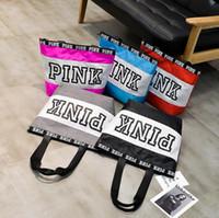 Wholesale Handbag Colors - Pink Letter Handbags VS Shoulder Bags Pink Purse Totes Travel Duffle Bags Waterproof Beach Bag Shoulder Bag Shopping Bags 5 Colors OOA2766