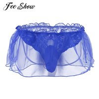 Wholesale Plus Size Mens Thong Underwear - Mens Sexy Lingerie Lace Flower Organza G-string Underwear Underpants with Bulge Pouch Men's lingerie Open Butt G-strings Thongs