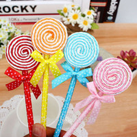 Wholesale Happy Baby Ball - Wholesale-12pcs lot Lollipop ball pen souvenirs birthday party baby shower gift happy birthday decoration kids Party Event Supplies