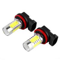 xenon farları toptan satış-2 adet H8 LED Araba Sis Işık 7.5 W Yüksek Güç Başkanı Kuyruk sürüş Ampul lamba Kaynağı Far lambası Xenon Beyaz 12 V