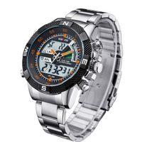Wholesale Weide Wristwatches - 2017 Top Sale WEIDE Quartz Digital Watch Men Hombre Orange Watch Analog Alarm Relogio Stainless Steel Band Military Wristwatch Montre Homme