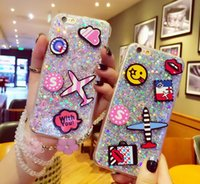Wholesale Aircraft Covering - Premium Bling Giltter cartoon aircraft cell phone case Luxury diamond rhinestone back cover shell for iphone 6S 6S Plus 7 7 Plus