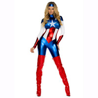 Wholesale Halloween Captain Uniform - adult female model of the United States, the United States captain role played a Halloween Costume game uniform exports