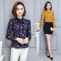 Wholesale Puff Tie - Elegant Bow Tie Printing Floral Blouses & Shirts Women's 2017 Spring Shirt Ladies Long-sleeved Chiffon Blouse Fashion Women Tops