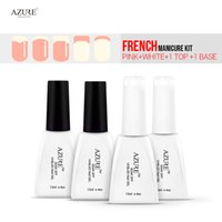 Wholesale Top Quality Manicure Set - Wholesale- Azure Beauty Nail Gels White Pink French Manicure Kit Set Top Base Coat High Quality Easy Use Remove Soak Off Gel Polish