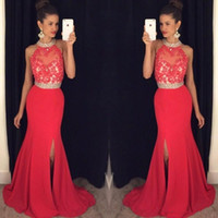 Wholesale Cheap Cotton Maternity Dresses - Cheap Long Red Prom Dresses Mermaid 2017 High Neck Appliques Beaded Prom Dress With Split Sexy Open Back Party Dress Formal Evening Gowns