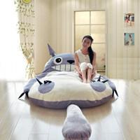 Wholesale Beanbag Giant - 200x170cm Large matelas Totoro Double Bed Giant Totoro Bed Mattress Cushion Plush Japanese Mattress Pad Tatami Cushion Beanbag