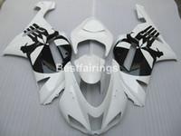 blanco kawasaki ninja zx6r al por mayor-Juego de carenado para carenado negro blanco Kawasaki Ninja ZX6R 2007 2008 ZX6R 07 08 MA03