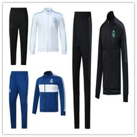 Wholesale Long Jacket Men S Suits - AAA+ 2017 2018 New Real Madrid survetement football tracksuits jackets training suits 17 18 soccer jacket Long pants wear sets RONALDO RAMOS