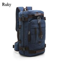 Wholesale Canvas Backpack Large - Nice- Vintage Casual Large Capacity Rucksack Mens Canvas Backpack MULTIFUNCTION Leisure Travel Backpack Laptop Backpacks Bag